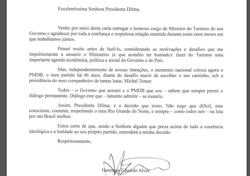 Leia na íntegra a carta de Henrique Alves onde pede exoneração do cargo de ministro do Turismo