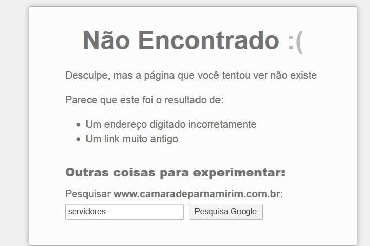 Câmara de Parnamirim está com portal da transparência e página de servidores fora do ar