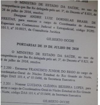 Mudança no Ministério da Saúde no RN, sai Júnior Rego, entra indicação de Nelter Queiroz