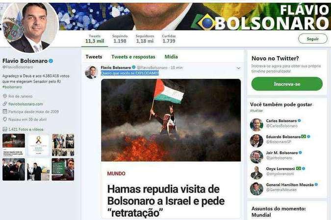 Após dizer que queria que o Hamas explodisse, Flávio Bolsonaro apaga publicação
