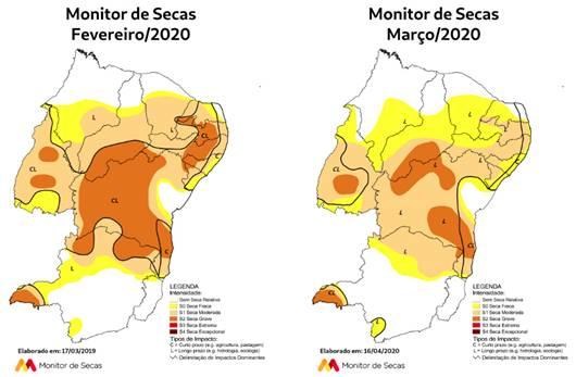 Monitor de Secas aponta redução das áreas com seca e da severidade do fenômeno no RN em março