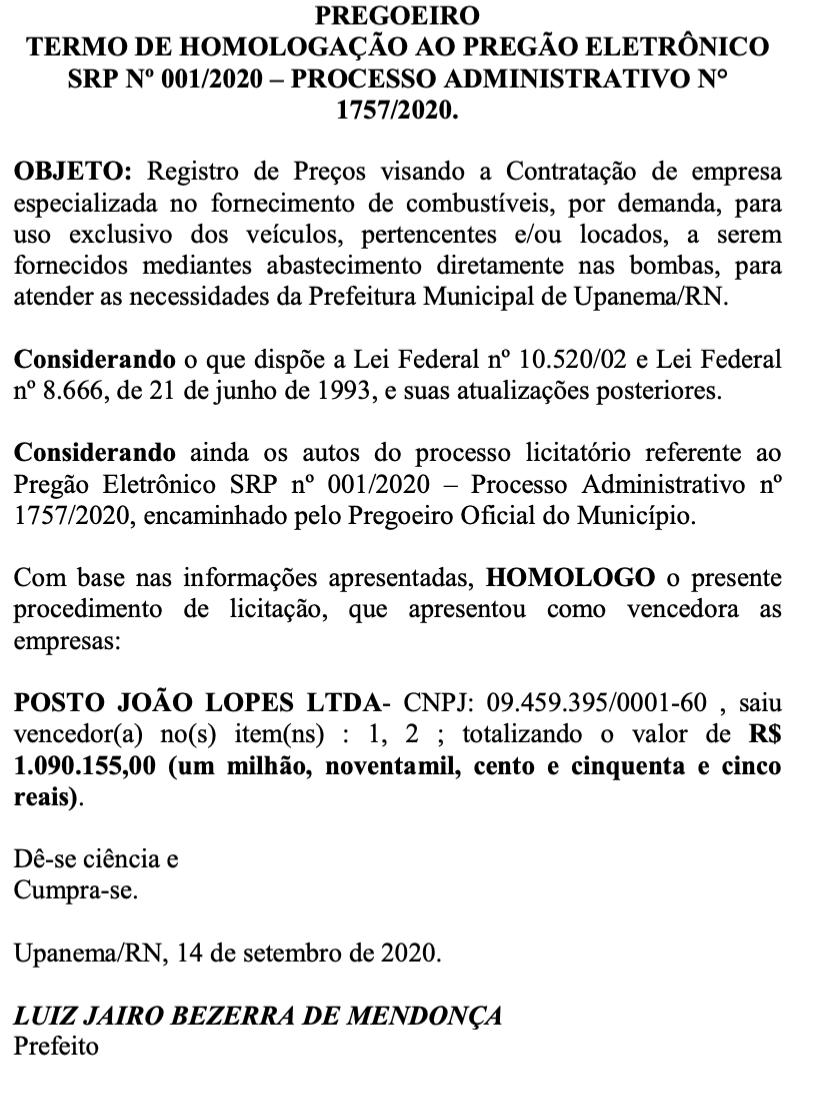 Prefeitura de Upanema contrata mais de R$ 1 milhão em combustível