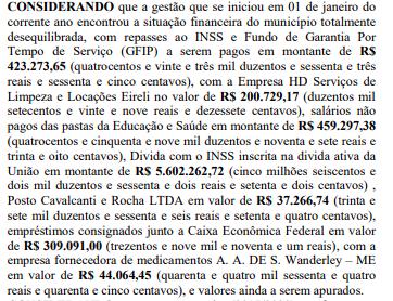 Prefeito de Arez escancara dívidas milionárias deixadas pela gestão passada e decreto estado de calamidade