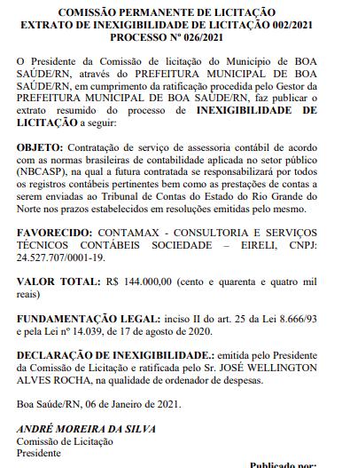 Com dispensa de licitação, prefeitura de Boa Saúde contrata escritório de contabilidade por quase R$ 150 mil