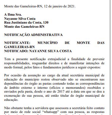 """Prefeito de Monte das Gameleiras acusa ex-secretária de Educação de """"sumir"""" com todos os documentos"""