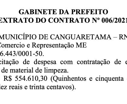 Prefeitura de Canguaretama gastará mais de R$ 500 mil com material de limpeza
