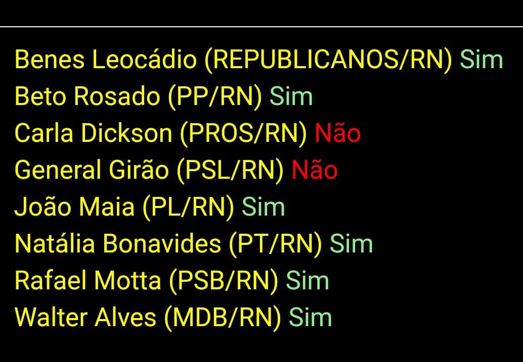 Deputados Carla Dickson e Girão votam favorável ao deputado que defendeu o AI-5