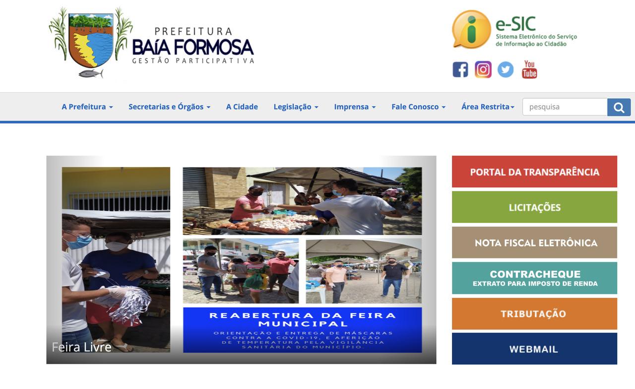 Enquanto o povo de Baia Formosa pede socorro, o site da Prefeitura desatualizado desde outubro do ano passado