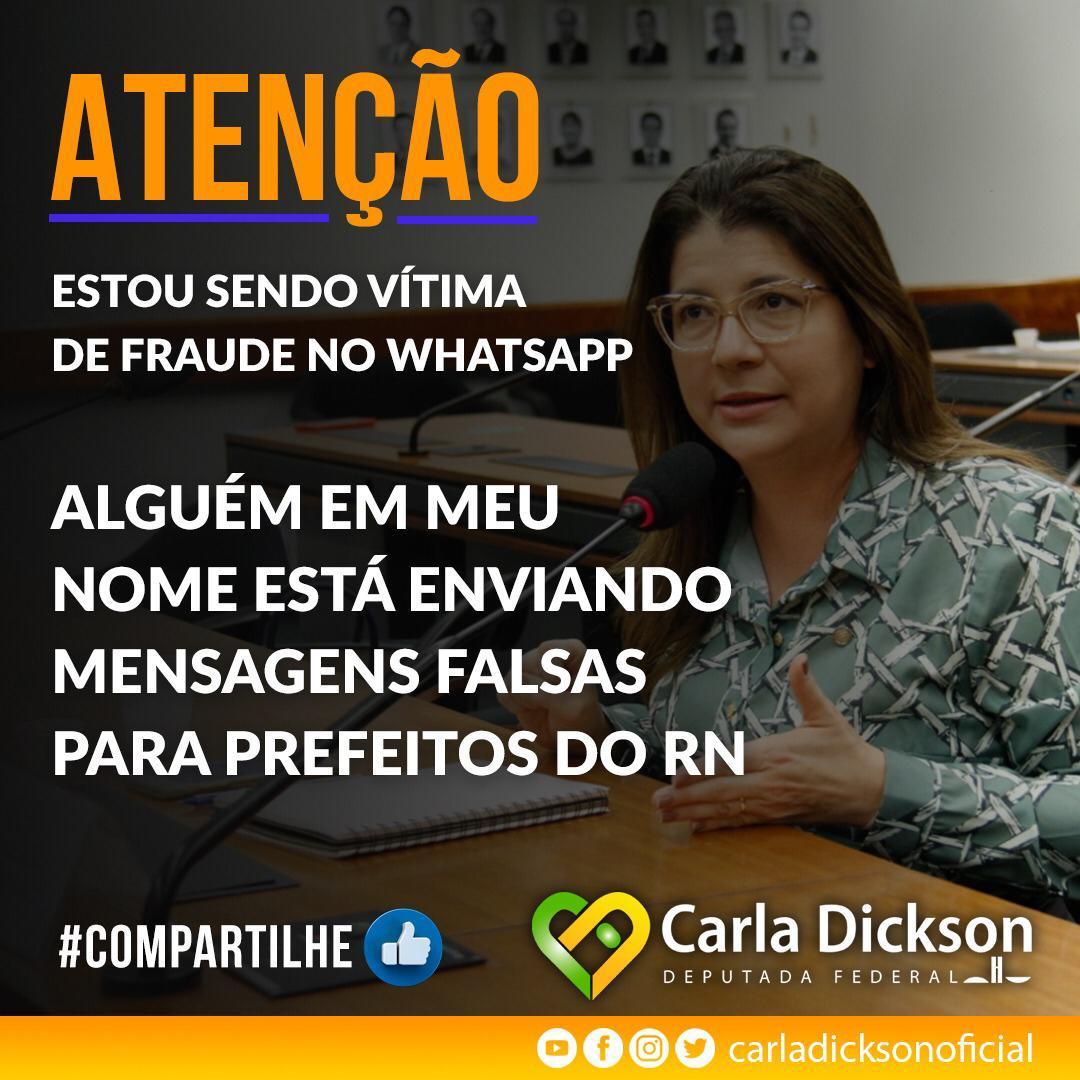 Deputada Carla Dickson é mais uma vítima  de golpe pelo WhatsApp
