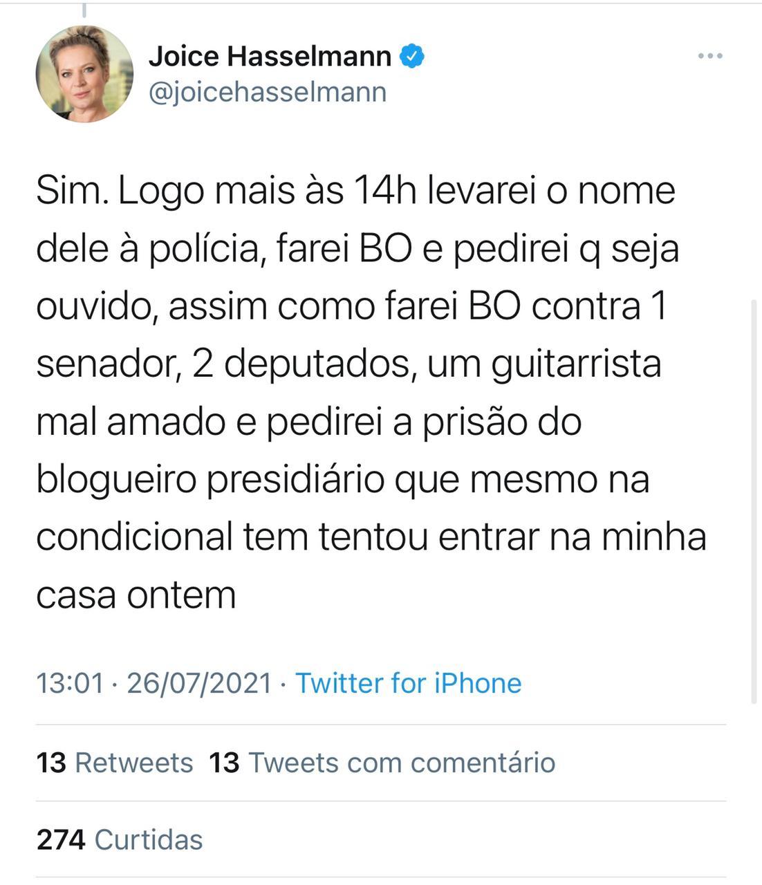 Joice Hasselmann vai fazer Boletim de Ocorrência contra o senador Styvenson Valentim