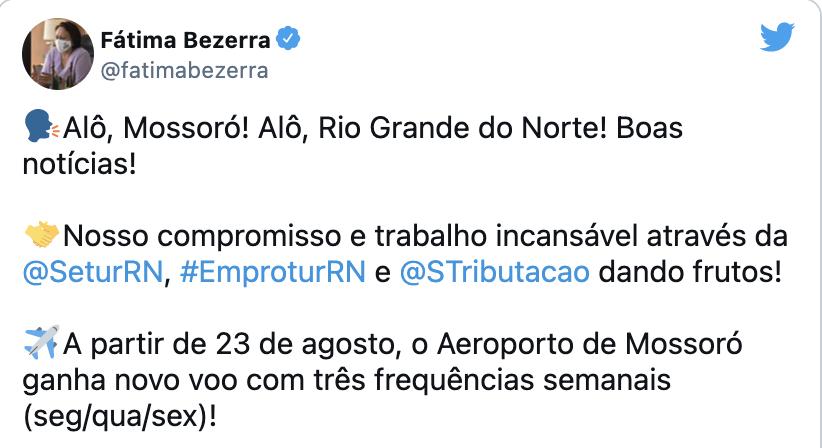 Linha aérea Mossoró/Natal começa a operar dia 23 de agosto, anuncia governadora