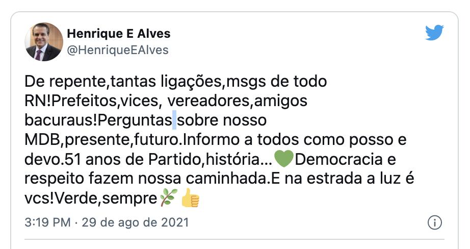 "Henrique Alves se pronuncia sobre possível saída do MDB: ""Verde, sempre"""