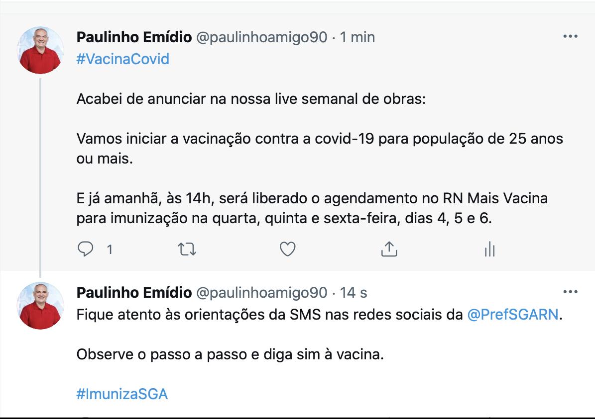 Prefeito de São Gonçalo anuncia vacinação para pessoas com 25 anos na quarta