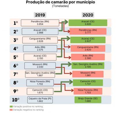 Municípios do RN caem no ranking de produção de camarão em 2020